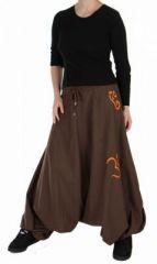 Sarouel ethnique marron logo ohm Indien 73246