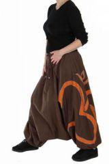 Sarouel ethnique original big ohm India marron 73259