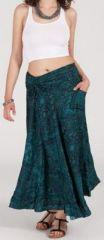 Agr�able jupe longue ethnique et originale - Bleu/Vert - Baia 272093