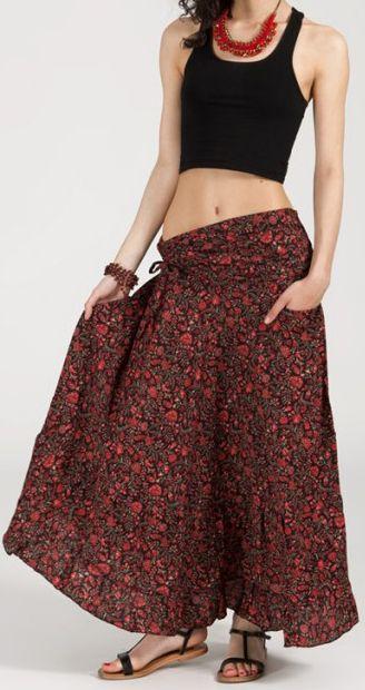 Agréable jupe longue ethnique et originale - Bordeaux - Baia 272097