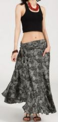 Agr�able jupe longue ethnique et originale - Noire/Grise - Baia 272099