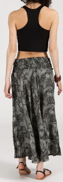 Agréable jupe longue ethnique et originale - Noire/Grise - Baia 272100