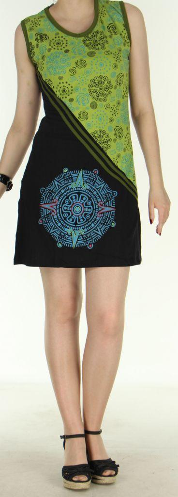 Agréable robe courte - ethnique et colorée - anis et noire - Regina 272136