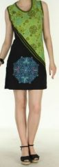 Agr�able robe courte - ethnique et color�e - anis et noire - Regina 272136