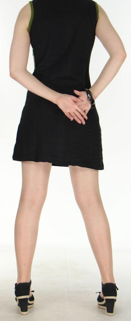 Agréable robe courte - ethnique et colorée - anis et noire - Regina 272137