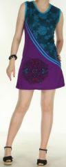 Agr�able robe courte - ethnique et color�e - bleue et violette - Regina 272134