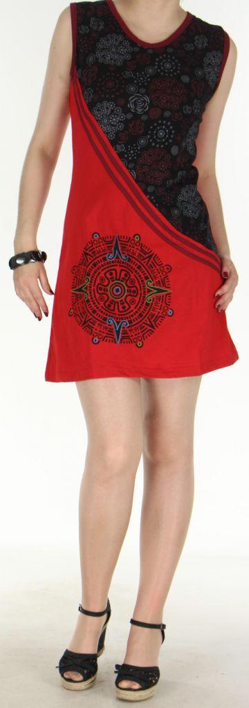 Agréable robe courte - ethnique et colorée - noire et rouge - Regina 272132