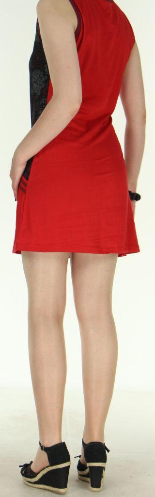 Agréable robe courte - ethnique et colorée - noire et rouge - Regina 272133