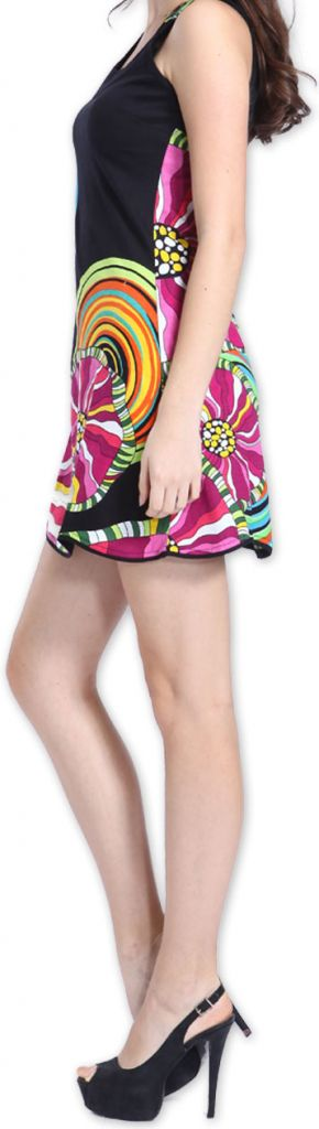 Agréable robe courte d'été ethnique et originale Noire Daniela 273441