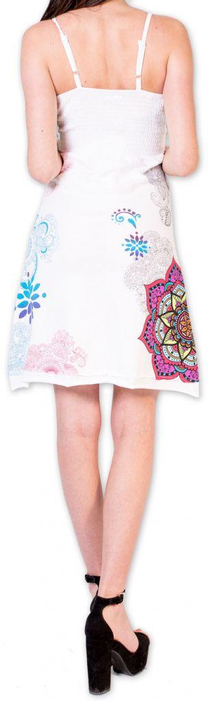Agréable robe d'été courte et ethnique Blanche Allexia 273234