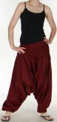 Authentique sarouel femme ethnique d'Inde Bordeaux Weke 273101