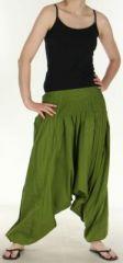 Authentique sarouel femme ethnique d'Inde Vert Olive Weke 273097