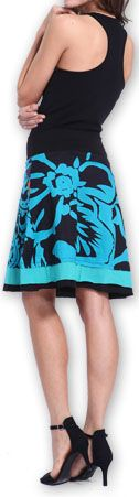 Belle Jupe courte d'été ethnique et colorée Bleue Paty 273608