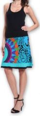 Belle Jupe courte d'été ethnique et colorée Bleue Paty 273610