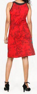 Belle robe courte d'été - sans manches - ethnique et colorée- Rouge - Stiva 272076