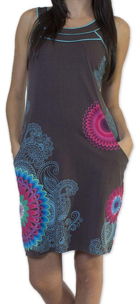 Belle robe d'été courte tendance et ethnique Grise Larae 273539