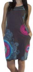 Belle robe d'�t� courte tendance et ethnique Grise Larae 273539