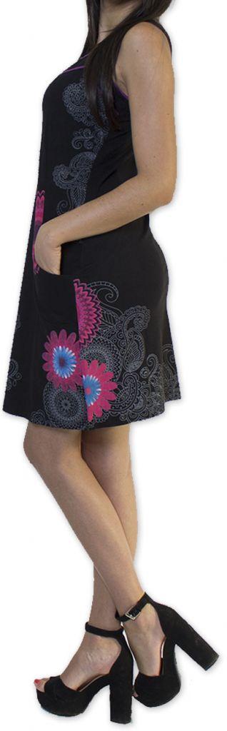 Belle robe d'été courte tendance et ethnique Noire Larae 273537