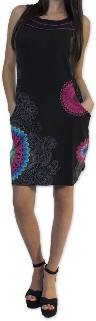 Belle robe d'été courte tendance et ethnique Noire Larae 273538