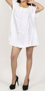 Belle tunique d'été originale pour femme - Blanche - Celina 272035
