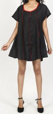 Belle tunique d'été originale pour femme - Noire - Celina 272033