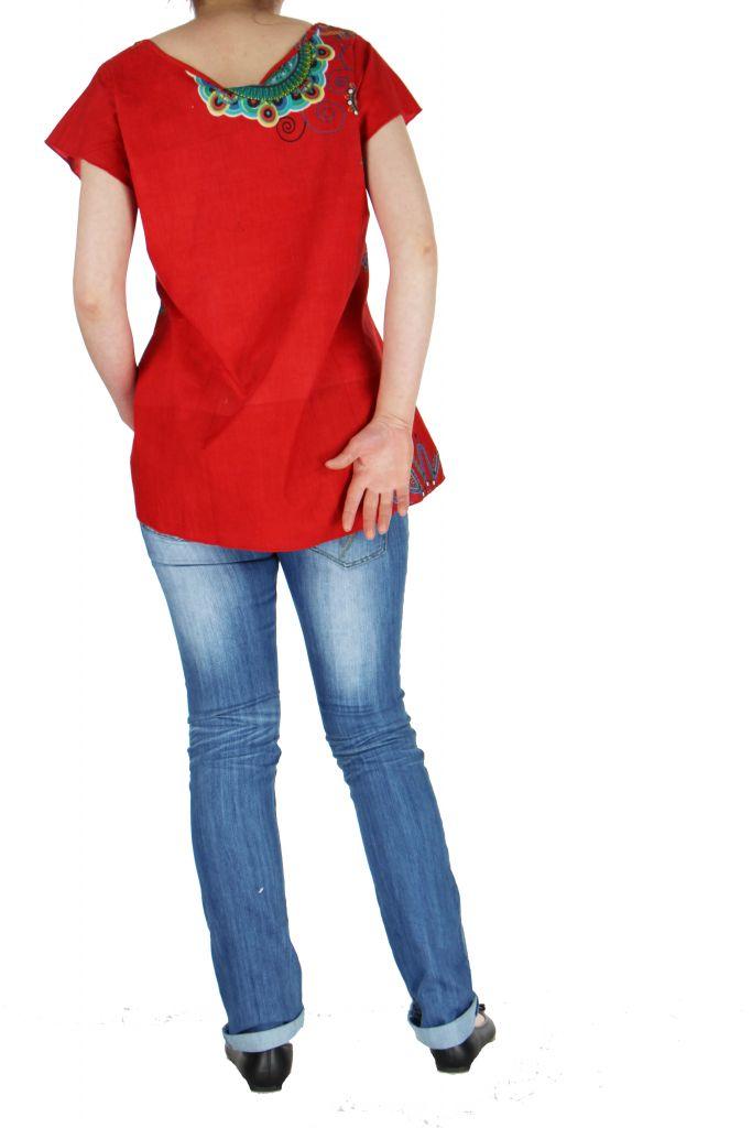 Blouse colorée pour femme rouge Nabilly