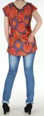 Blouse d'été imprimée et colorée fluide Orange Sajita 272567