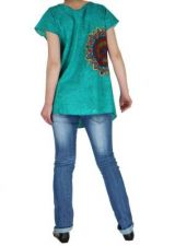Blouse femme ethnique turquoise Nilla
