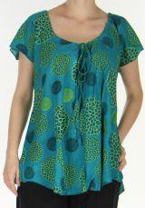 Blouse pour Femme très fluide Ethnique et Colorée Jasma Bleue 278016