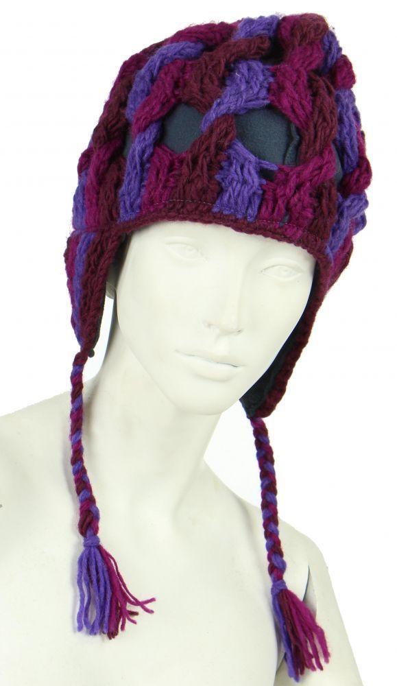 Bonnet en laine violet/fushia/bordeau doublé polaire 247846