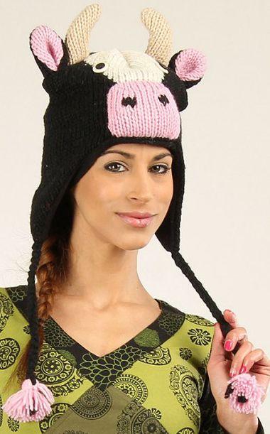 Bonnet Homme ou Femme en Laine Original et Fun Vache 277304