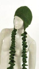 Bonnet plitz en laine à longues tresses kaki 243909