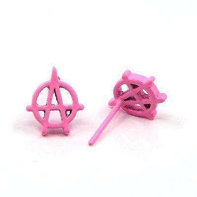Boucles d\'oreilles clou anarchie fluo 256235