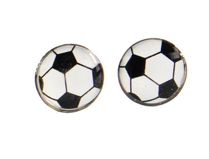 Boucles d\'oreilles clou ballon de football 246321