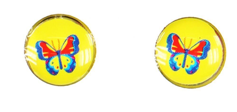 Boucles d\'oreilles clou papillon fond jaune 249364