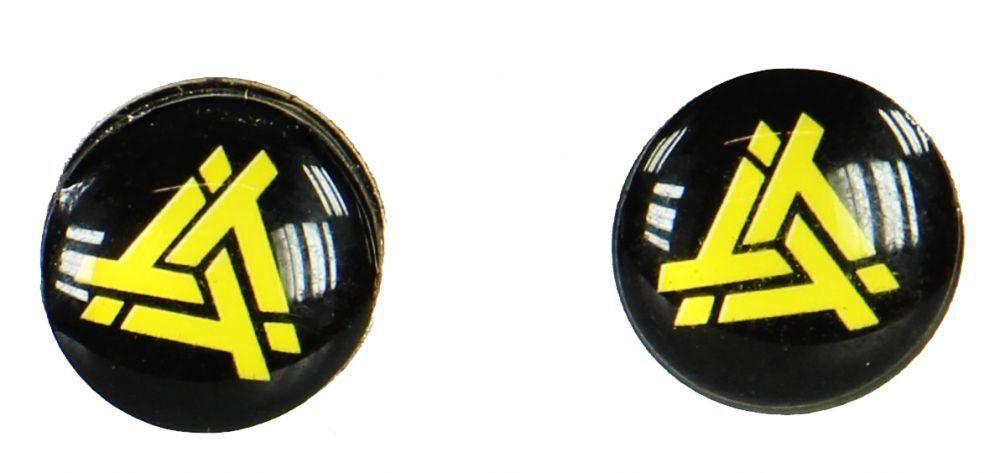 Boucles d\'oreilles clou tribal jaune fond noir 249371