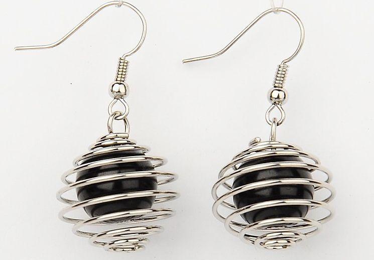 Boucles d'oreilles en acier et verre logo sphère Noire 246774