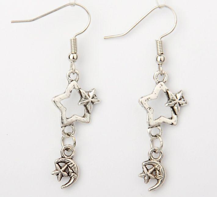 Boucles d\'oreilles en acier logo étoile et lune 246783