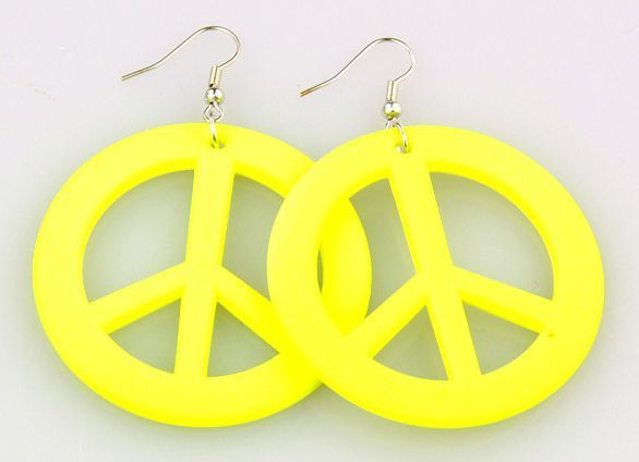 Boucles d\'oreilles en acrylique logo peace and love 256256