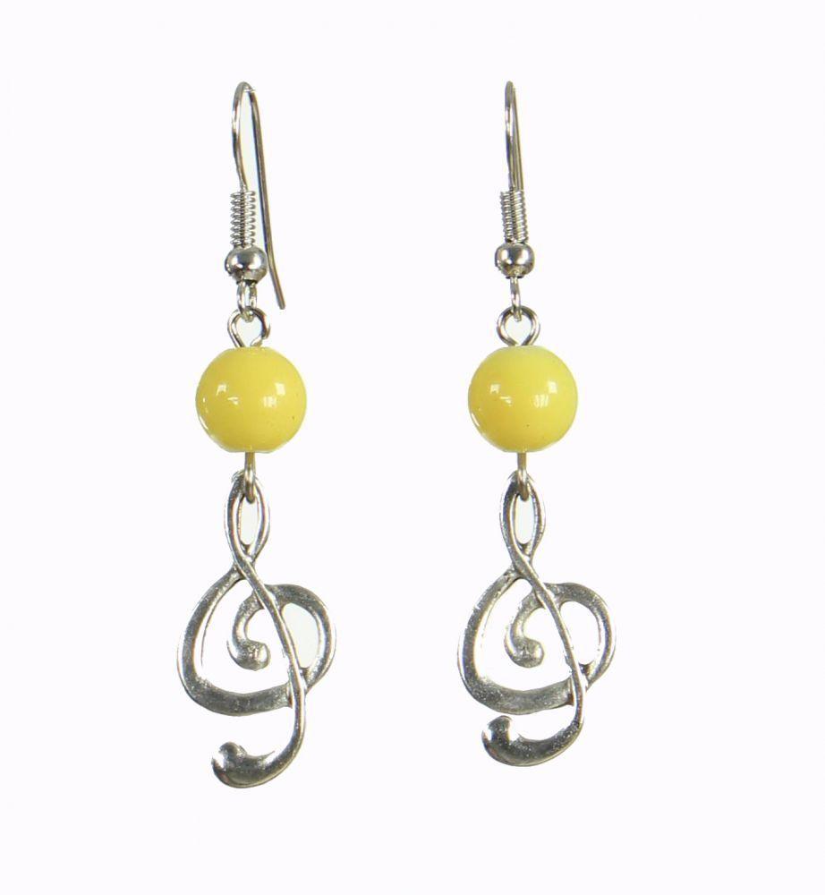 Boucles d\'oreilles originales clé de sol jaune 249912
