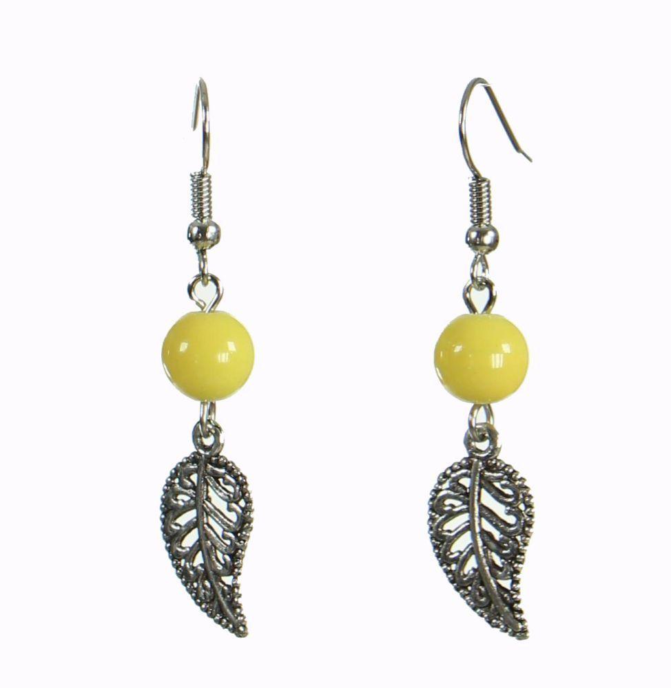 Boucles d\'oreilles originales feuilly jaune 249940