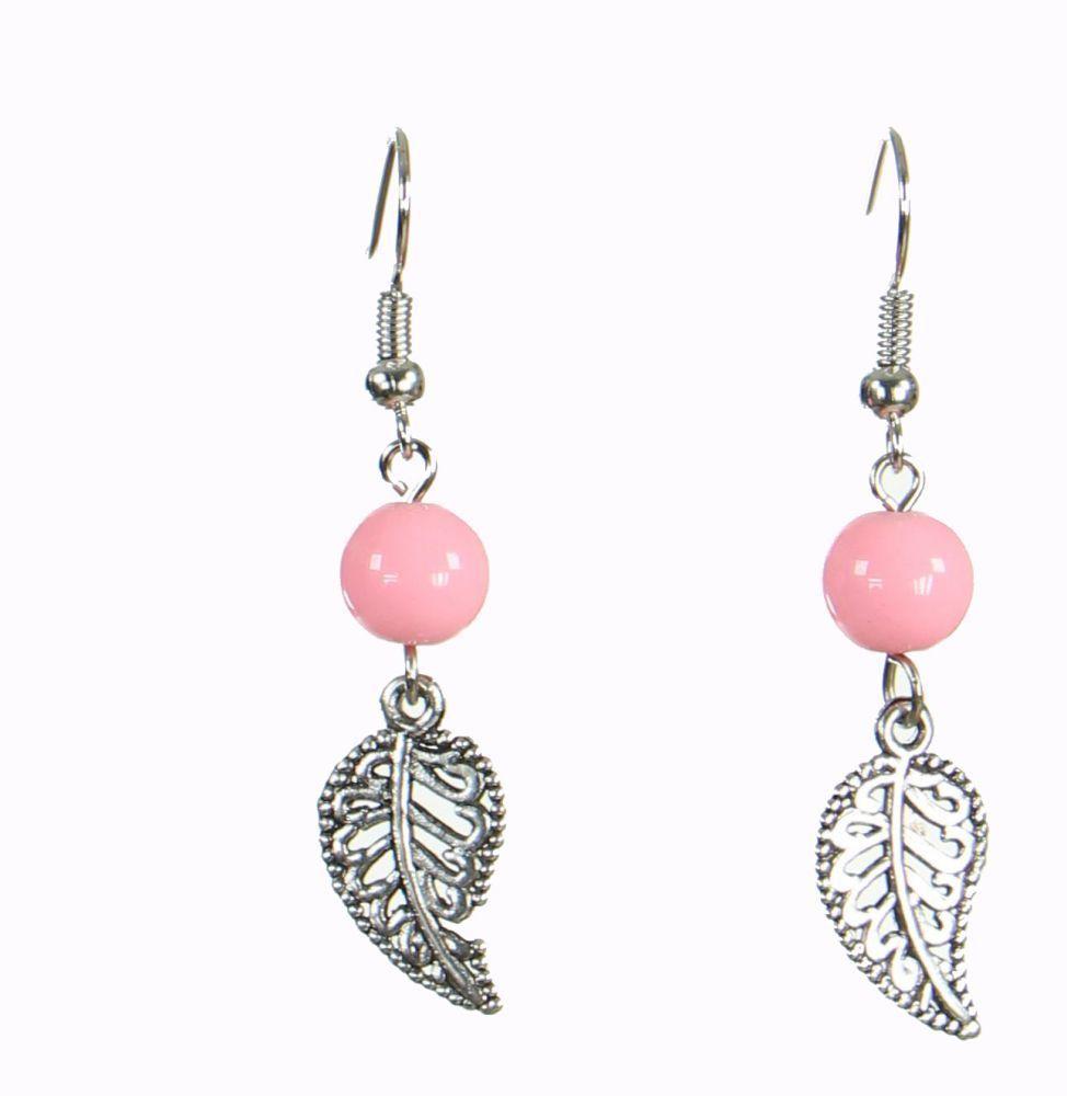 Boucles d\'oreilles originales feuilly rose 249942