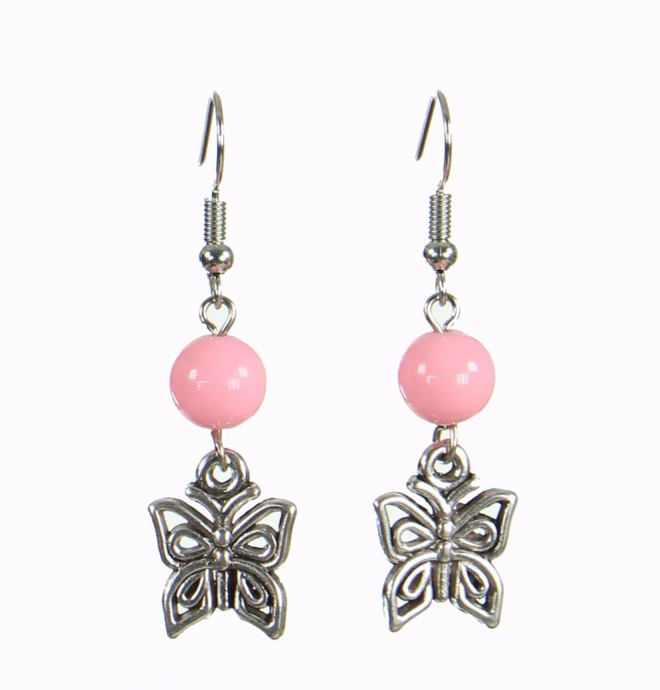 Boucles d'oreilles originales papilly rose 249936