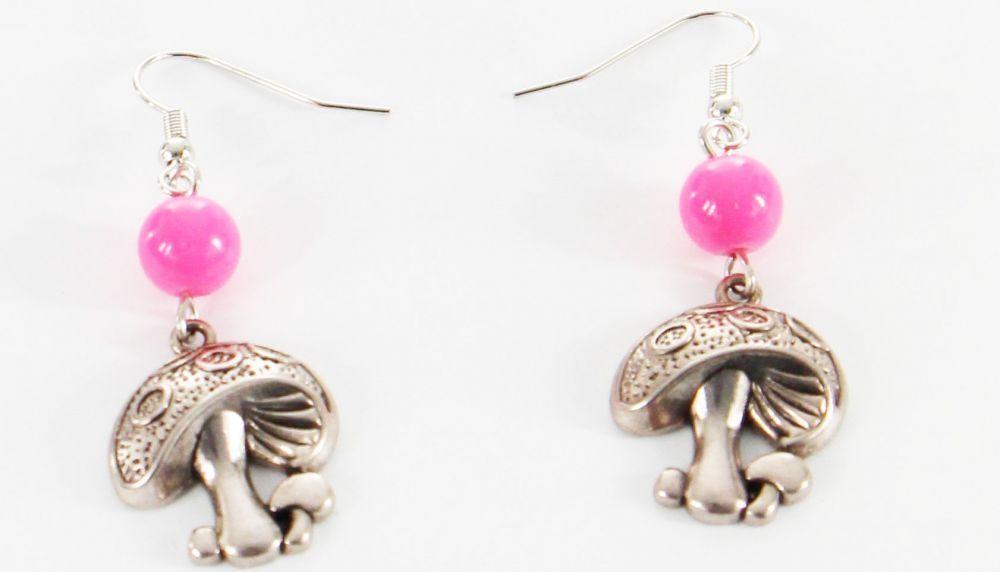 Boucles d\'oreilles pendentif champignon perle rose 246454