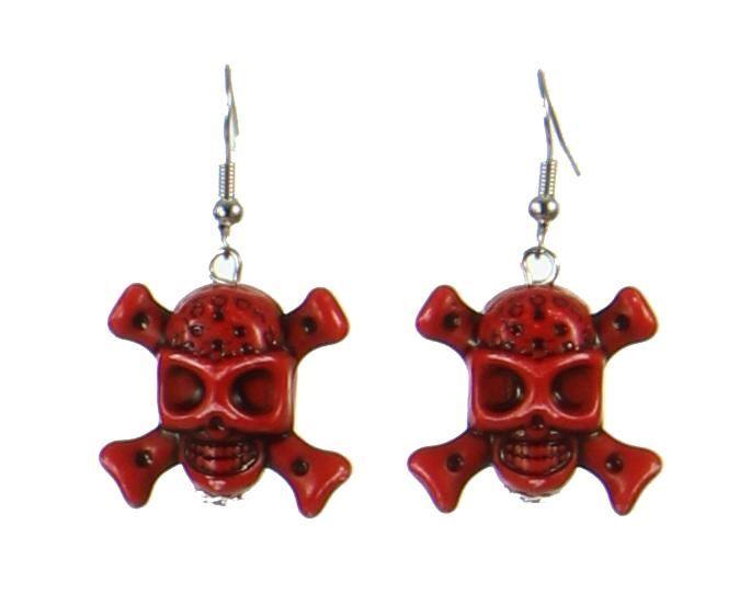 Boucles d\'oreilles tête de mort rouge 247644