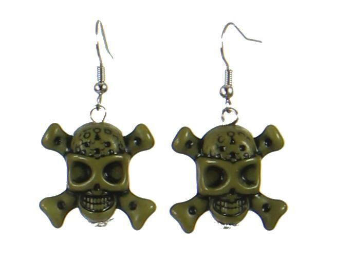 Boucles d\'oreilles tête de mort vert 247641