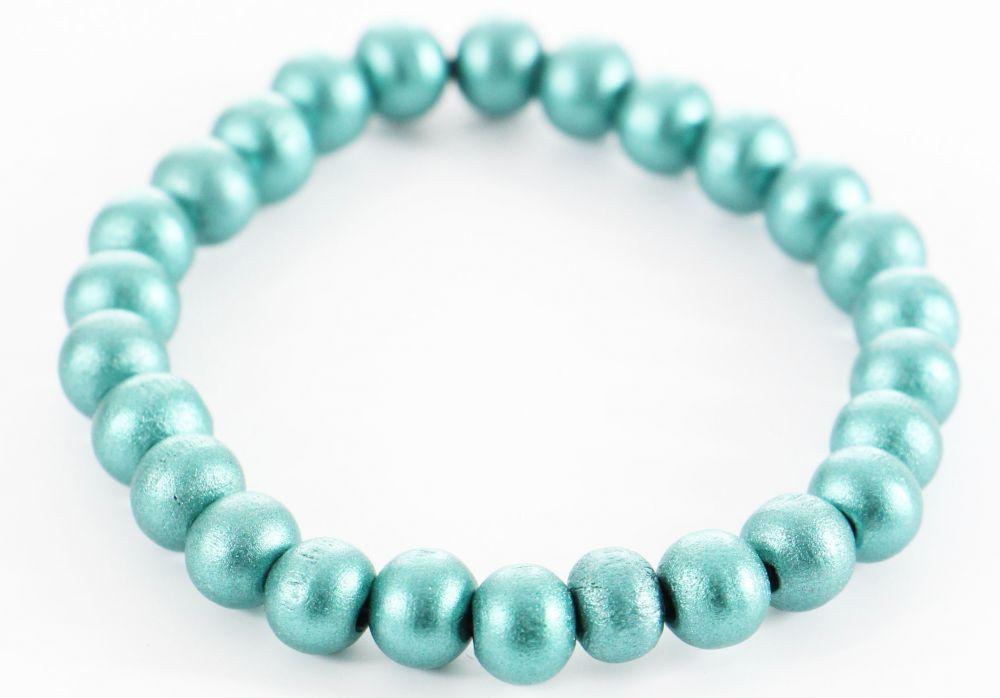 Bracelet élastique perles en bois bleue métal 246500