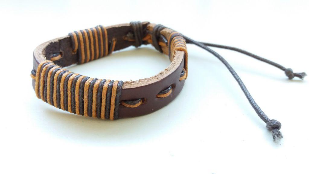 Bracelet mixte en cuir et cordon ciré forcing marron et ocre