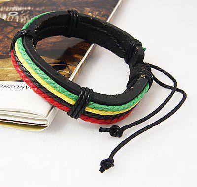Bracelet rasta vert jaune rouge en cuir 256244