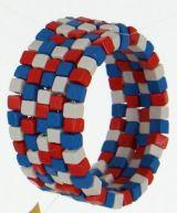 Bracelet spirale en bois roudou bleu blanc rouge 247476